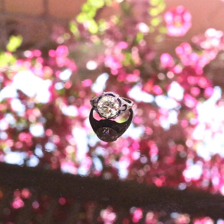 Women's Art Deco Revival 3.31 Carat Old European Cut Diamond Platinum Engagement Ring For Sale