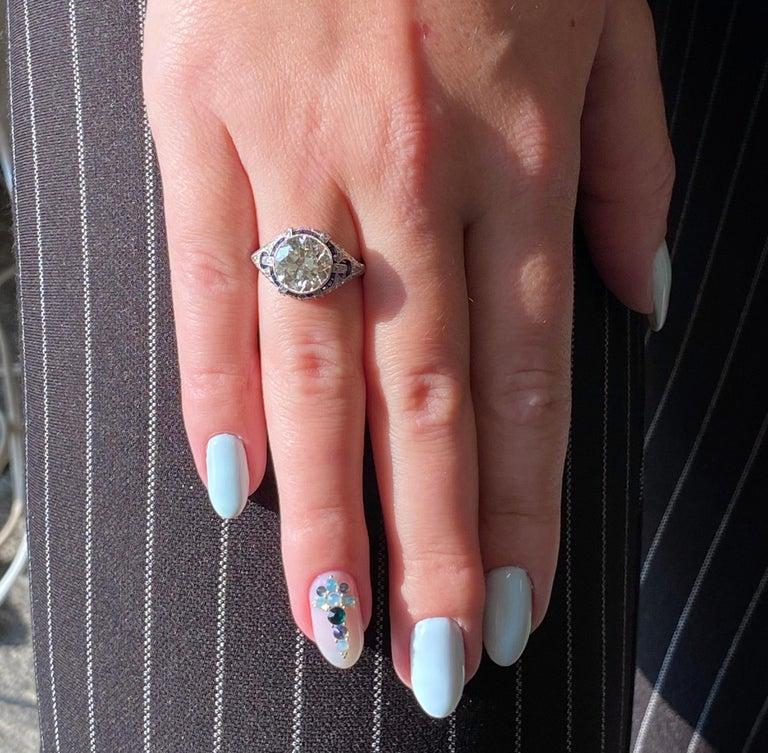 Art Deco Revival 3.31 Carat Old European Cut Diamond Platinum Engagement Ring For Sale 3