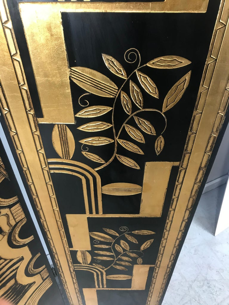 Art Deco Revival 4 Panel Screen / Room Divider, Carved and Gilt, Woman Motif For Sale 6