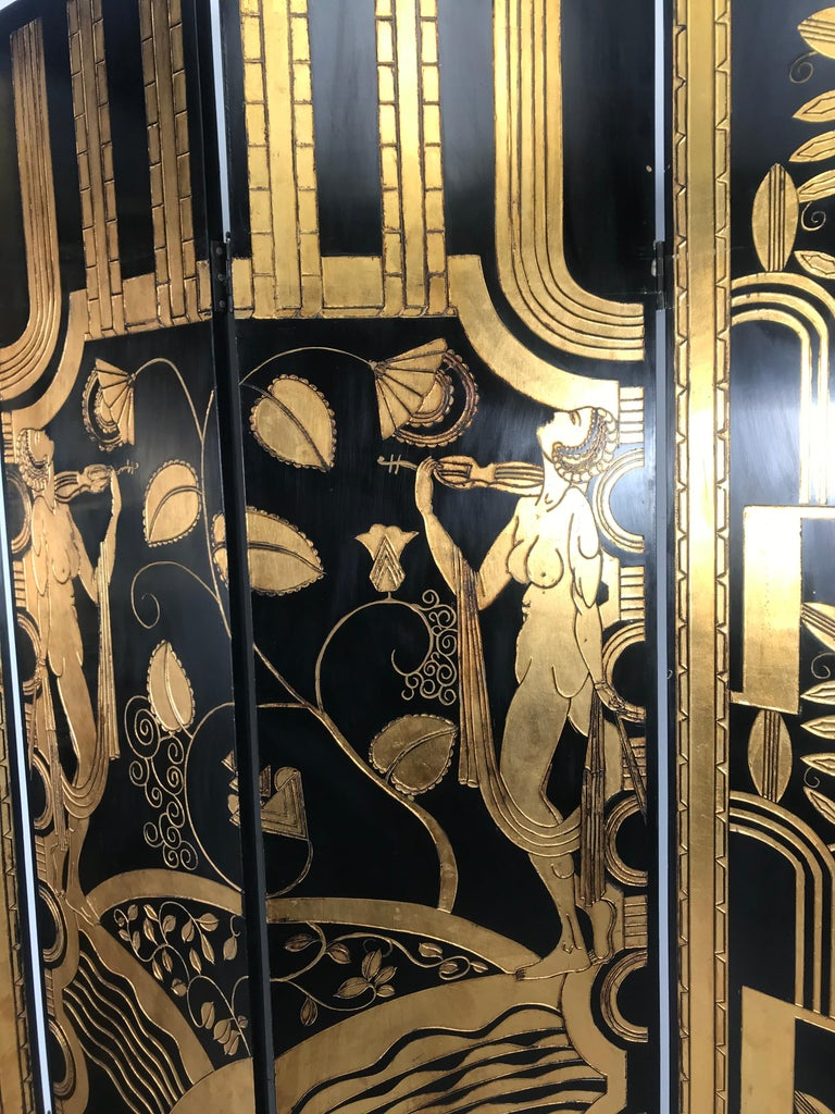 Art Deco Revival 4 Panel Screen / Room Divider, Carved and Gilt, Woman Motif For Sale 7