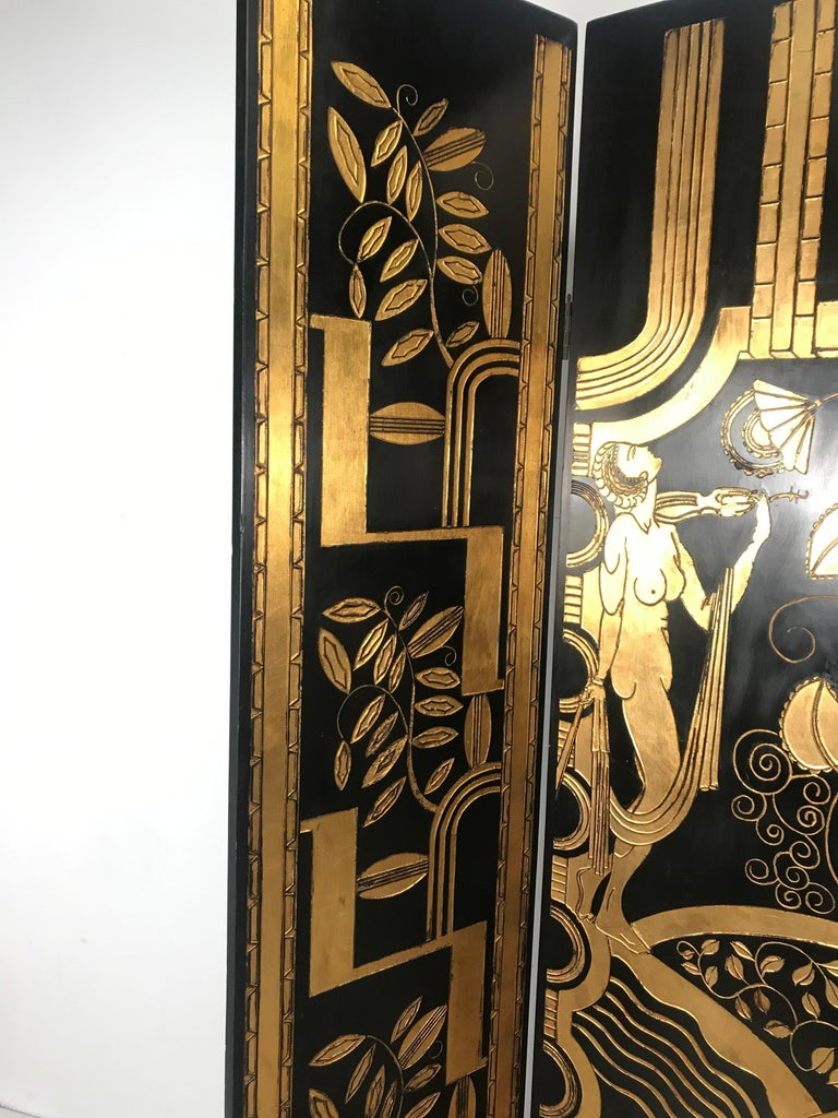 Stunning Art Deco Revival 4 panel screen / room divider, carved, lacquered and gilt, depicting stylized woman, flowers giometric motif, Four hinged panels measuring 16