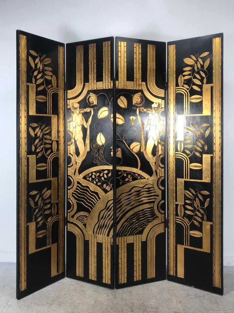 American Art Deco Revival 4 Panel Screen / Room Divider, Carved and Gilt, Woman Motif For Sale