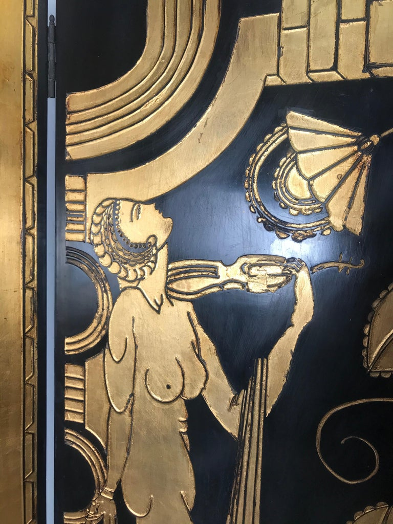 Art Deco Revival 4 Panel Screen / Room Divider, Carved and Gilt, Woman Motif In Good Condition For Sale In Buffalo, NY