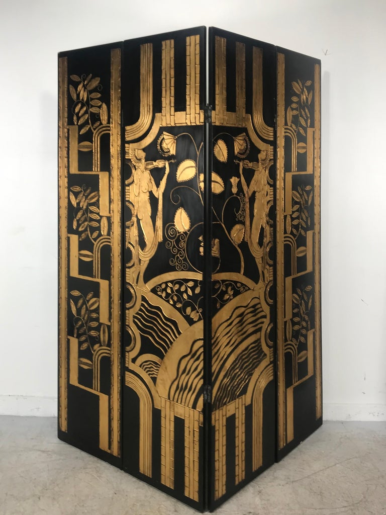 Art Deco Revival 4 Panel Screen / Room Divider, Carved and Gilt, Woman Motif For Sale 1