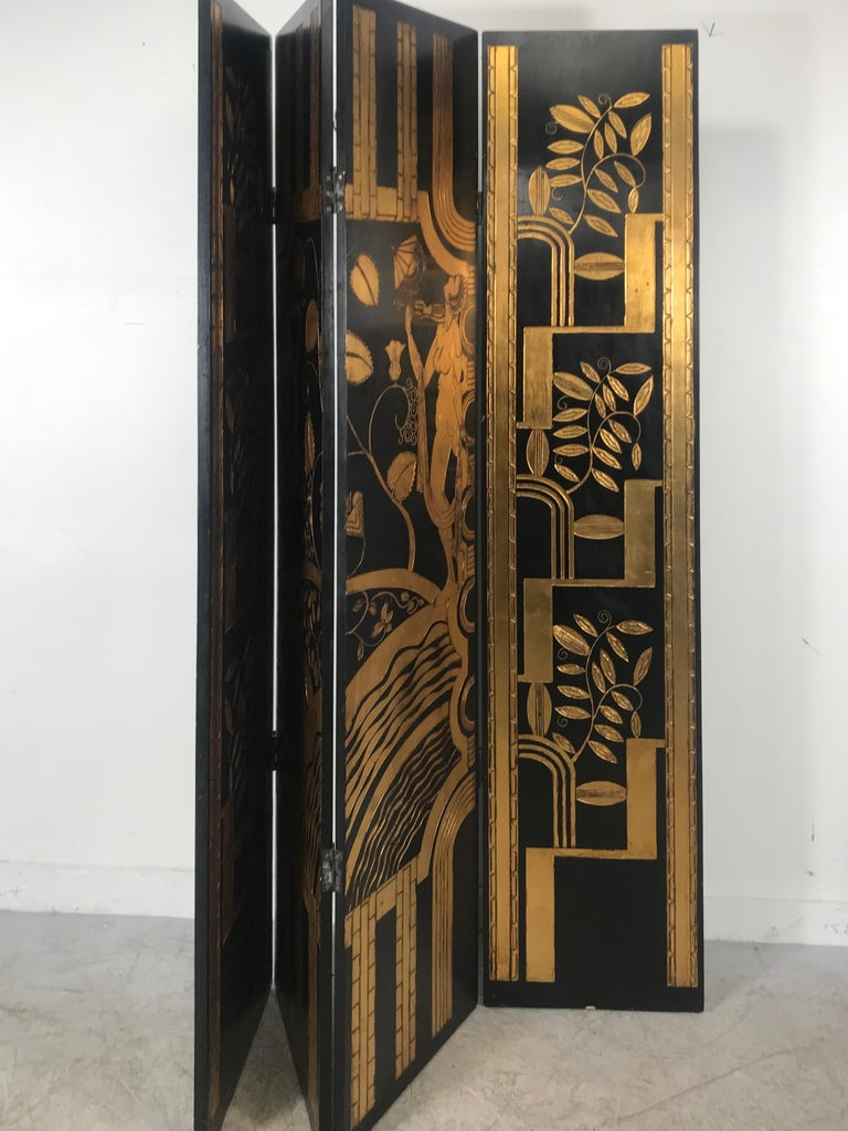 Art Deco Revival 4 Panel Screen / Room Divider, Carved and Gilt, Woman Motif For Sale 2