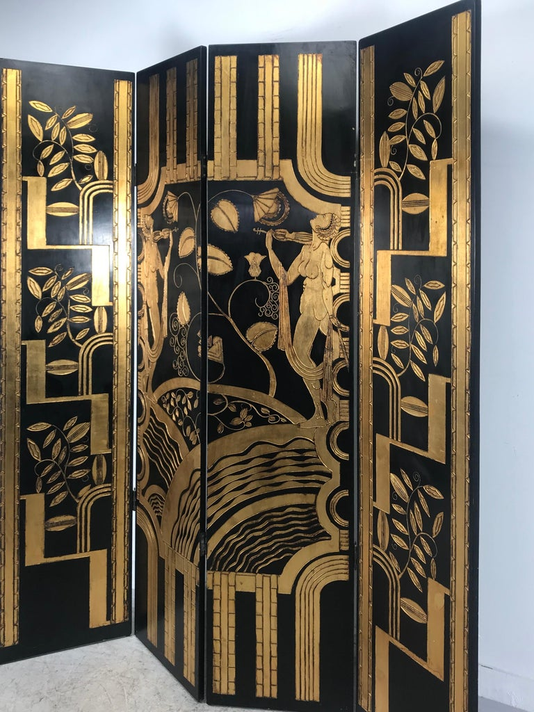Art Deco Revival 4 Panel Screen / Room Divider, Carved and Gilt, Woman Motif For Sale 3