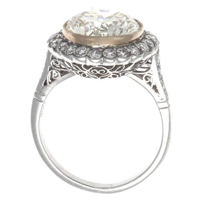 Old European Cut Art Deco Revival 4.46 Carat Diamond Platinum Engagement Ring For Sale