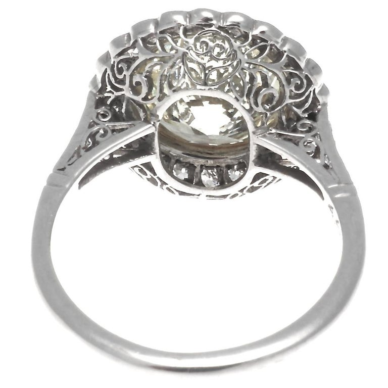 Art Deco Revival 4.46 Carat Diamond Platinum Engagement Ring In New Condition For Sale In Beverly Hills, CA