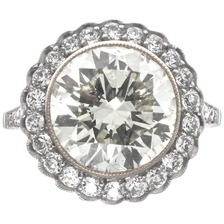 Art Deco Revival 4.46 Carat Diamond Platinum Engagement Ring For Sale