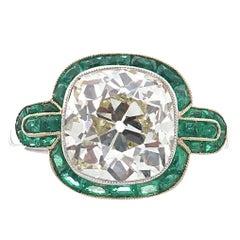 Art Deco Revival 4.49 Carat Old European Cut Diamond Platinum Ring