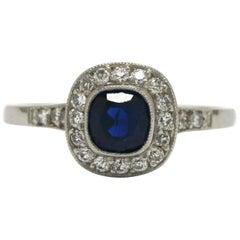 Art Deco Revival Antique Sapphire Engagement Ring Diamond Halo Platinum Target