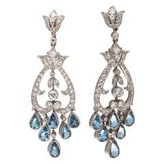 Art Deco Revival Aquamarine Diamond Platinum Chandelier Earrings