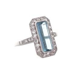 Art Deco Revival Aquamarine Diamond Platinum Ring