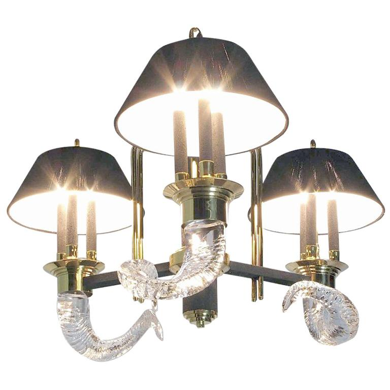 Art Deco Revival Chandelier With Crystal Rams' Horns For Sale