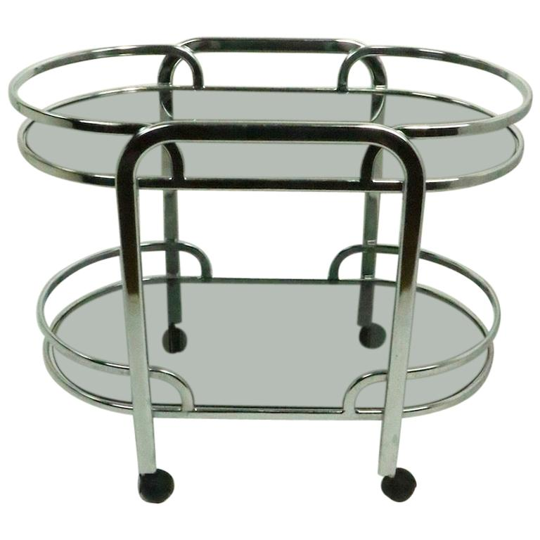 Art Deco Revival Chrome and Tinted Glass Serving Bar Cart