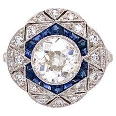 Art Deco Revival Diamond and Sapphire Platinum Ring Estate Fine Jewelry