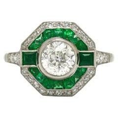Art Deco Style Diamond Emerald Halo Engagement Ring Geometric Octagon Platinum