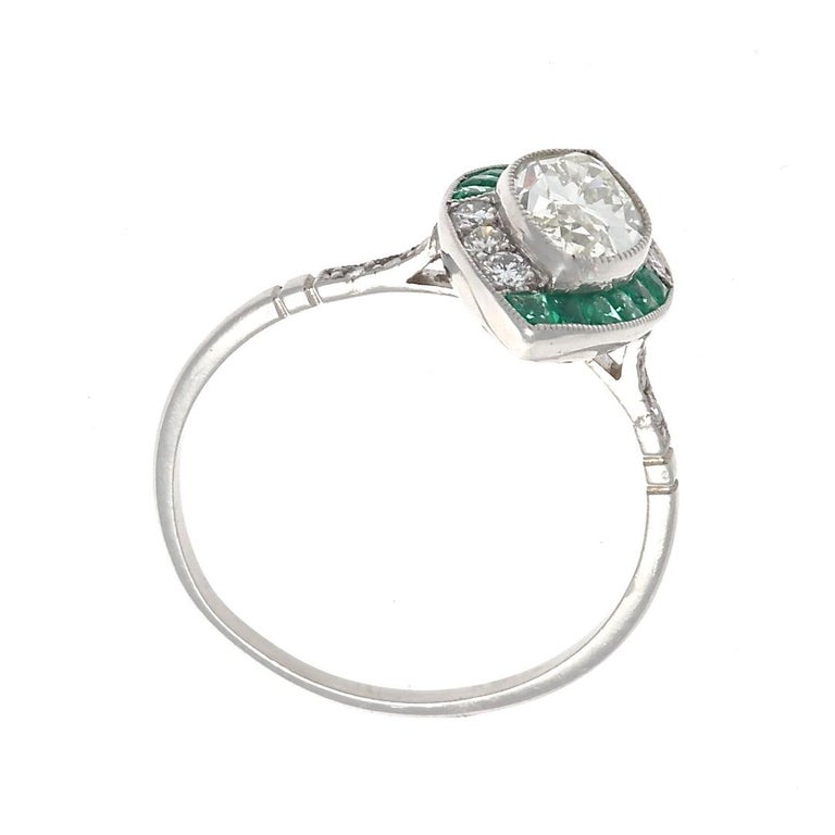 Modern Art Deco Revival Diamond Emerald Platinum Engagement Ring For Sale