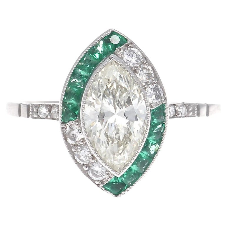 Art Deco Revival Diamond Emerald Platinum Engagement Ring For Sale
