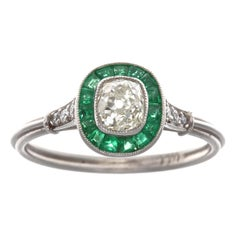 Art Deco Style Diamond Emerald Platinum Engagement Ring