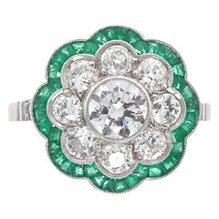 Art Deco Revival Diamond Emerald Platinum Ring