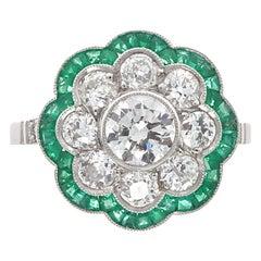 Art Deco Revival Round Cut Diamond Emerald Platinum Ring