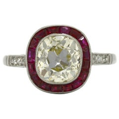 Art Deco Revival Diamond Engagement Ring Old Mine Cushion 2.57 Carat Vintage