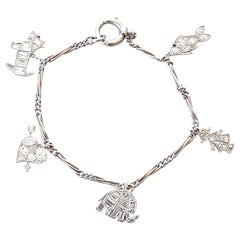 Art Deco Revival Diamond Platinum Charm Bracelet