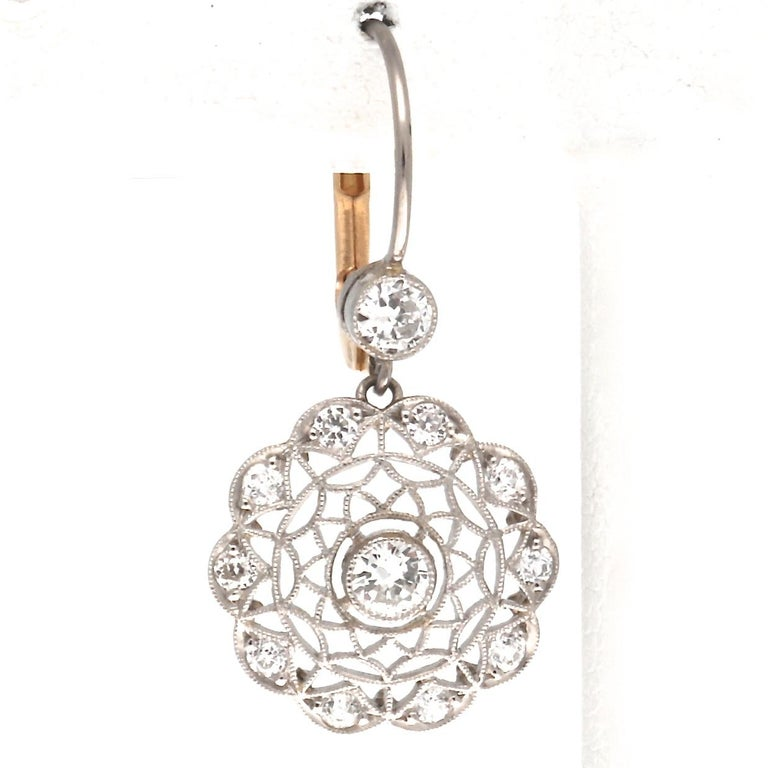 Art Deco Revival Diamond Platinum Earrings In New Condition For Sale In Beverly Hills, CA