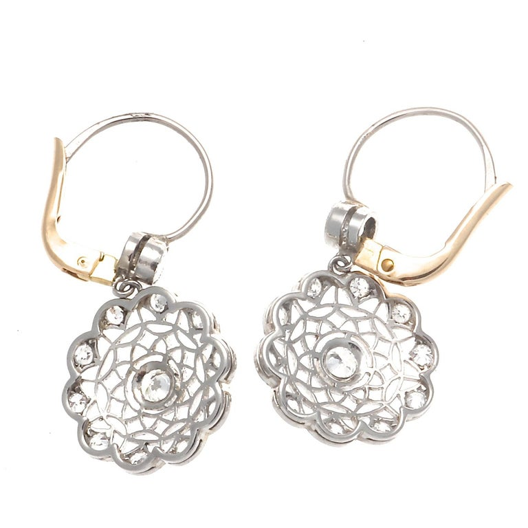 Art Deco Revival Diamond Platinum Earrings For Sale 1