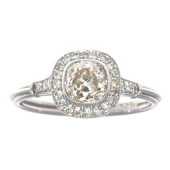 Art Deco Style Diamond Platinum Engagement Ring
