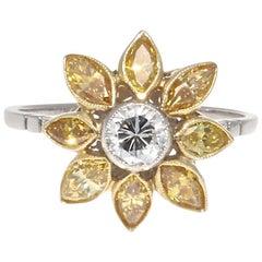 Art Deco Revival Diamond Platinum Flower Cluster Ring
