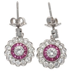 Art Deco Revival Diamond Ruby Platinum Cluster Earrings