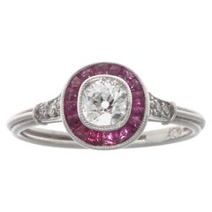 Art Deco Revival Diamond Ruby Platinum Ring