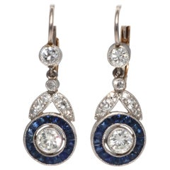 Art Deco Revival Diamond Sapphire Platinum Drop Earrings