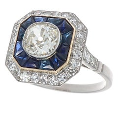 Art Deco Revival Diamond Sapphire Platinum Engagement Ring