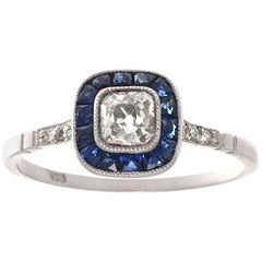 Art Deco Revival Diamond Sapphire Platinum Engagement Ring
