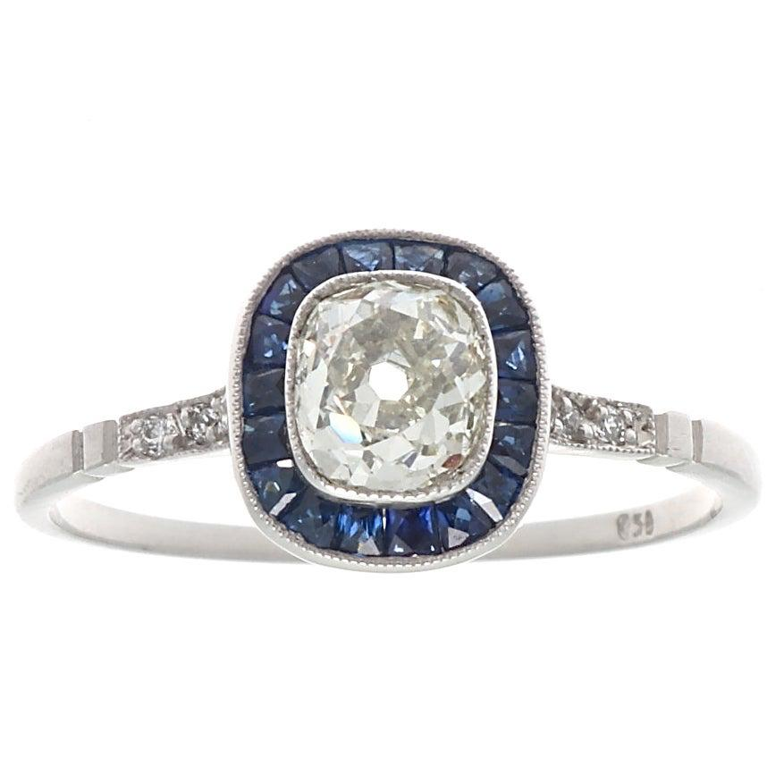 Art Deco Style Diamond Sapphire Platinum Ring