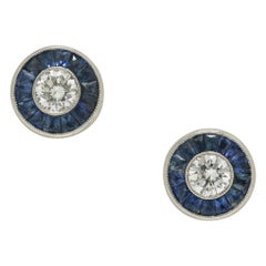 Art Deco Revival Diamond Sapphire Stud Earrings Target Design Platinum Halo