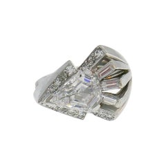 Art Deco Revival Diamond White Gold Ring