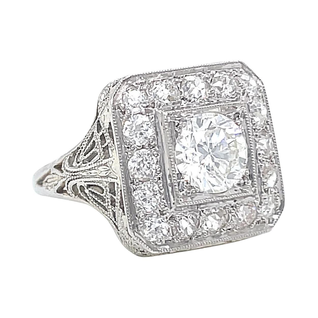 Art Deco Revival Diamond White Gold Ring Vintage