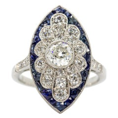 Art Deco Revival Diamonds and Sapphires Ring