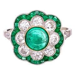 Art Deco Revival Emerald and Diamond Platinum Ring Estate Fine Jewelry