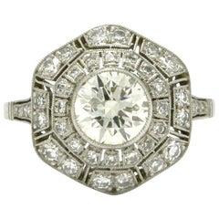 Art Deco Revival Engagement Ring over 1.75 Carat Old European Diamond Geometric