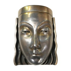 Art Deco Revival Female Face Mask Wall Sconce, Pair