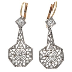 Art Deco Revival Geometric Platinum 18 Karat Earrings