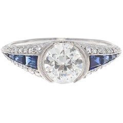 Art Deco Revival GIA Diamond Sapphire Platinum Engagement Ring