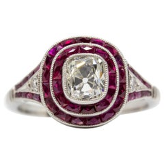 Art Deco Revival Handmade Platinum Diamond and Ruby Double Halo Ring