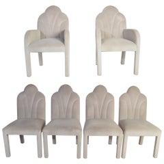 Art Deco Revival Hollywood Regency Dining Chairs in Soft Velvet