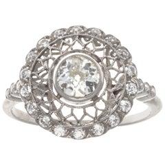 Art Deco Revival Old European Cut Diamond Platinum Ring